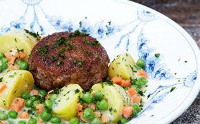 Karbonader med ærter og gulerødder Enkelt, lidt rustikt og hamrende lækkert.
