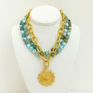 Susan Shaw Multi-Strand Fire Agate with Handcast Gold Bee Necklace - Blue Hand Home  Lauren B Montana
