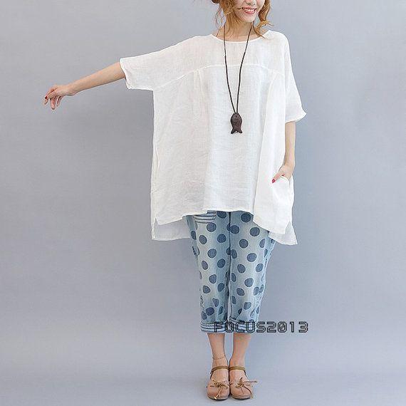 Waisted baggy linen long shirt doll version - white