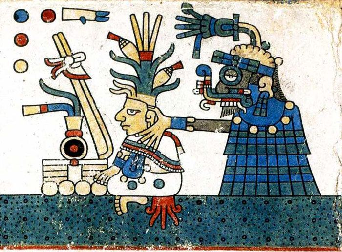 Pic 14: Tlaloc helping a maize plant to grow. Fejérváry screenfold 34.