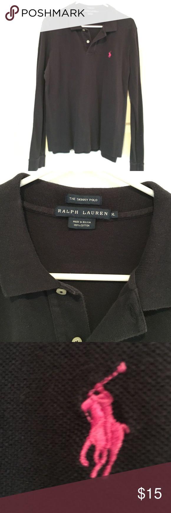 Navy Ralph Lauren Long Sleeve Polo Shirt Sz XL Gently used long sleeve polo. Sz XL. Navy with Pink pony Ralph Lauren Tops Tees - Long Sleeve