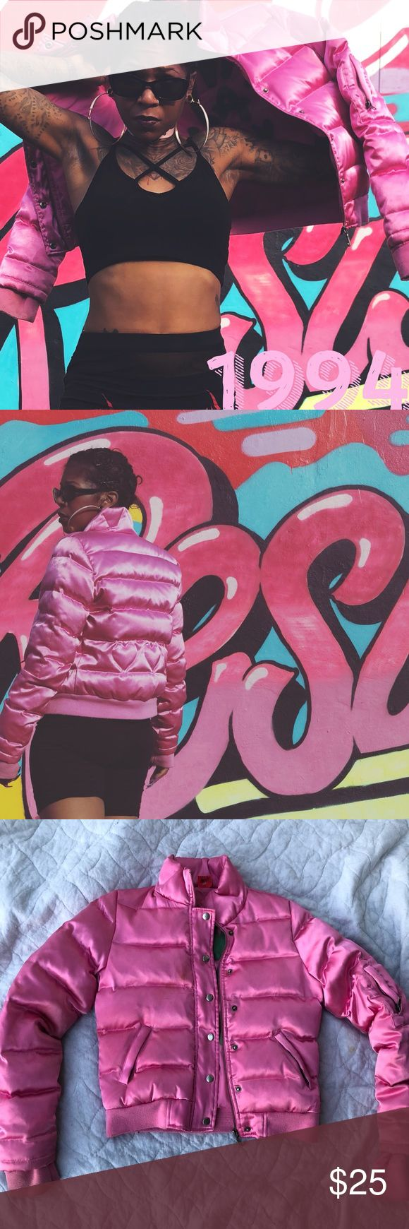 Vintage Pink Juicy couture bubble Jacket Juicy couture bubble jacket , size medium but snug fit also can fit small, nylon material, small ink pen mark on the front Juicy Couture Jackets & Coats Puffers