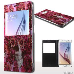 Etui telephone Samsung S6 S'View Girly Skull. #etui #Skull #Girl #SamsungGalaxy #S6
