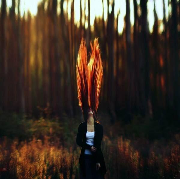 cabello con ilucion de fuego