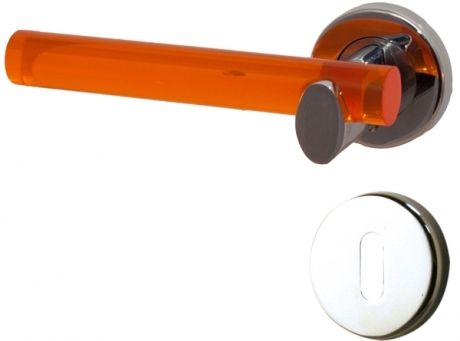 1/2 poignée de porte intérieure gauche design en métal chromé et acrylique translucide orange sur rosace ronde Clé L, VITAMINE   Poignée de porte