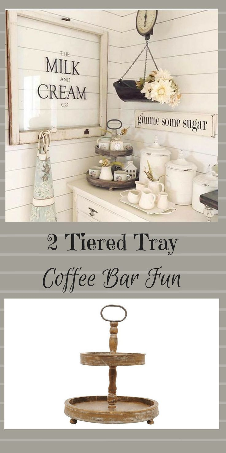 Create the look: Round Wood 2-Tier Tray - 3R Studios. #wood #woodwork #afflink #coffee #coffeebar #coffeelovers #rustic #rusticdecor #rustickitchen #rusticfarmhouse #farmhouse #farmhousestyle