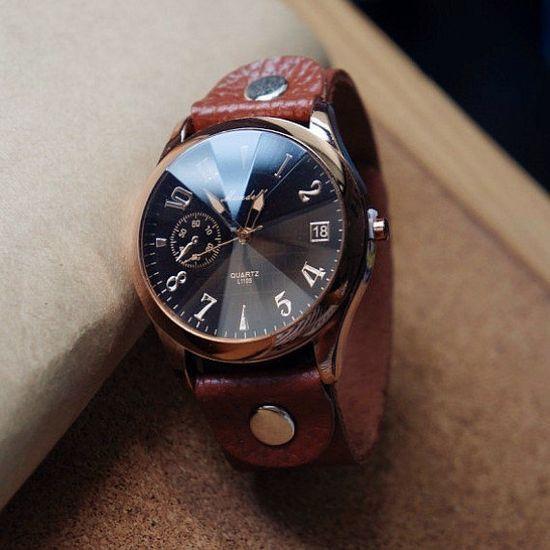 Men Watch Leather Wrist