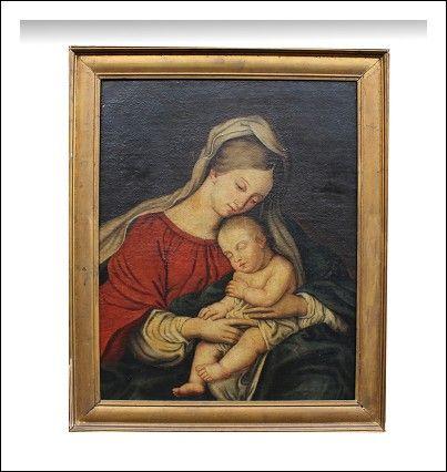 Dipinto olio su tela raffigurante Madonna con Bambino misura 85x70 cm Epoca XVIII Secolo.