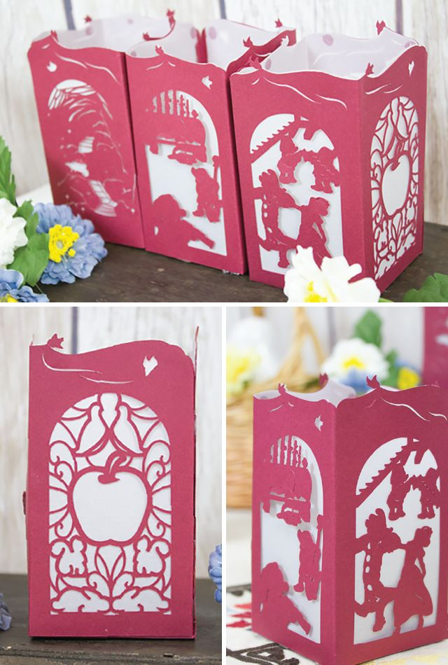 Snow White Paper Lantern - Designs By Miss Mandee. Experience iconic scenes from the classic Disney movie Snow White all in one, lovely paper lantern design. Download the SVG cut file for FREE!