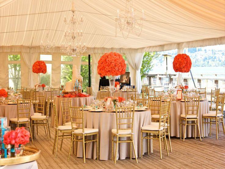 Orange, Ivory, And Gold Wedding Reception Set Up, Chivari
