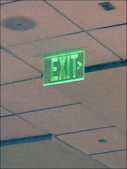 """Think about it. Might Green not be a better more appropriate color for Emergency Exits signs than traditional red? Might not green better signify """"go this way""""? As a parallel,over time blue has ev..."""