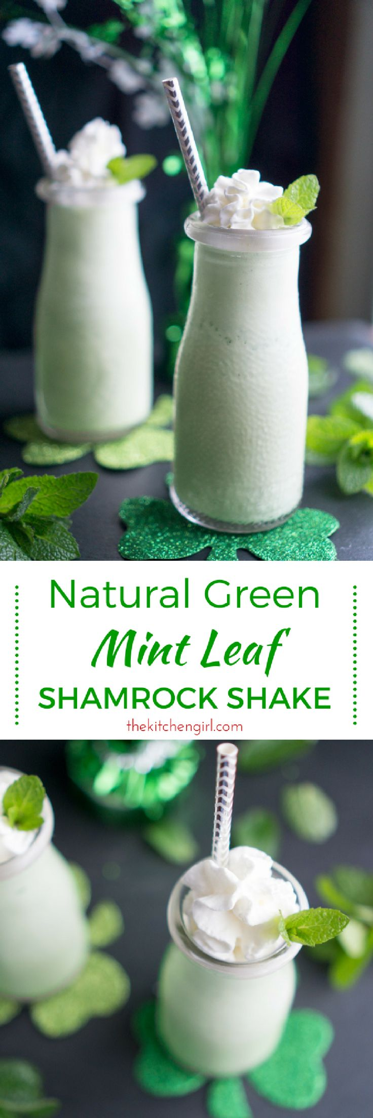 Use real mint leaf to color and flavor your St. Pat's sweet treat. No food dye and no added sugar. Natural Mint Leaf Shamrock Shake recipe on thekitchengirl.com