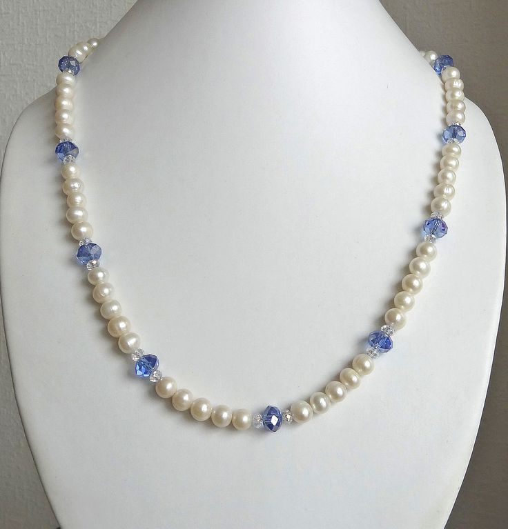 Blue Czech glass & ivory pearl necklace - sterling silver