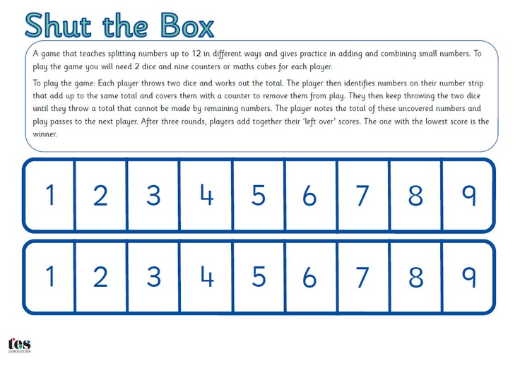 Shut the Box Maths Game: Printable maths game that that teaches splitting numbers up to 12 in different ways and gives practice in adding and combining small numbers.