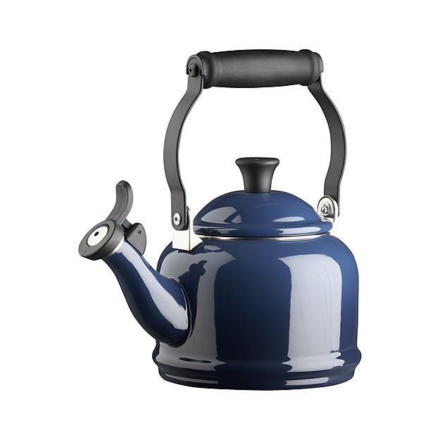 A stovetop classic from the fine craftsmen at Le Creuset. Friendly traditional kettle in quick-heating carbon steel is finished in porcelain enamel with stay-cool handle and pleasant whistle. Perfect for smaller kitchens or serving tea for two.