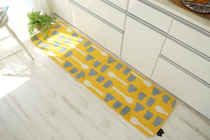 北欧テイストのオシャレなキッチンマット&バスマット 「可愛い食器柄」 - 100サイズ カーペット・ラグ・絨毯・敷物の通販専門店 びっくりカーペット