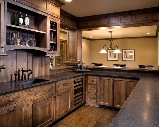 Acacia floors with alder cabinets design fabulous basement bar kitchen ideas with wooden - Rustic wooden kitchen cabinet ...