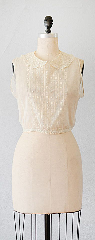 vintage 1920s blouse | net embroidered 20s top