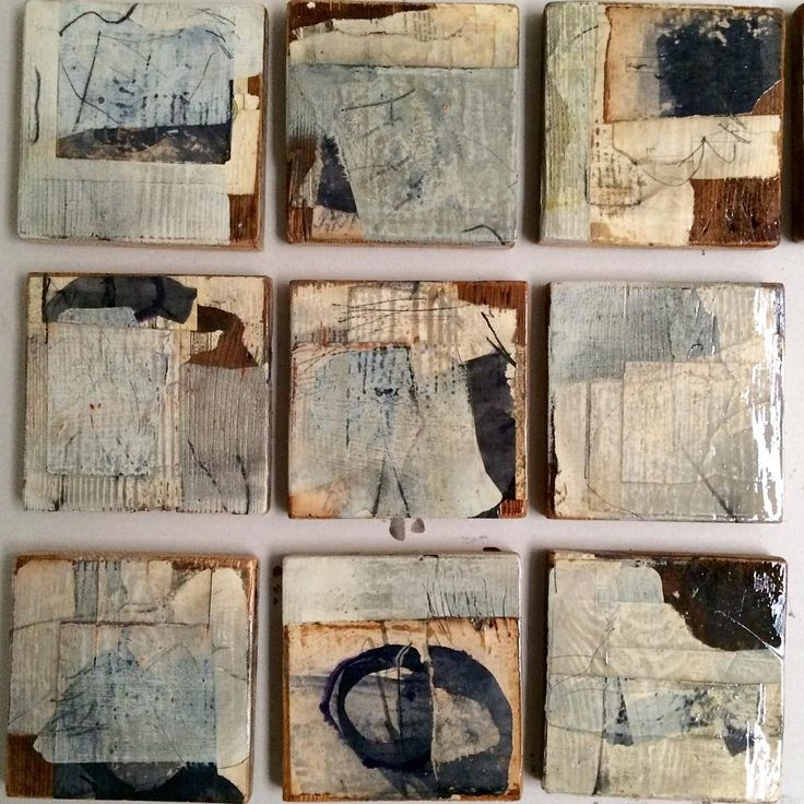 Drawings on collage on wood.....