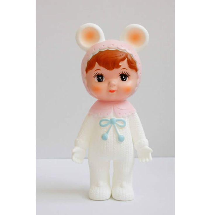 Lapin & me Woodland Dukke med øre, Hvid/pink - Tinga Tango Designbutik