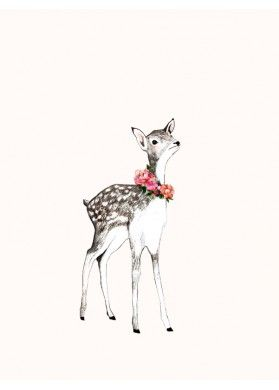Fawn, Little Deer Art Print by Daniela Dahf Henriquez - Kids Wall Art