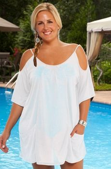 Women's Plus Size Cover Ups - Always For Me Cover Open Shoulder Tunic - Style #2109X - Sizes 1X - 3X -NEW COLORS JUST ARRIVED
