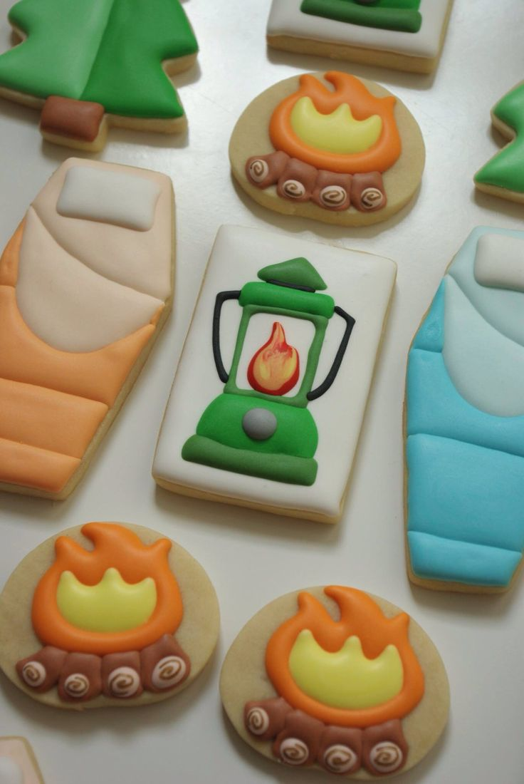 Camping cookies -- love the sleeping bags!