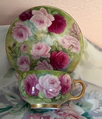 French Limoges Cup Saucer JPL France Hand Painted Roses