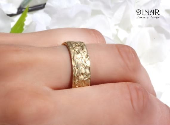 ec30ab3b8b2 Hammered 14k rustic style organic textured gold wedding ring ...