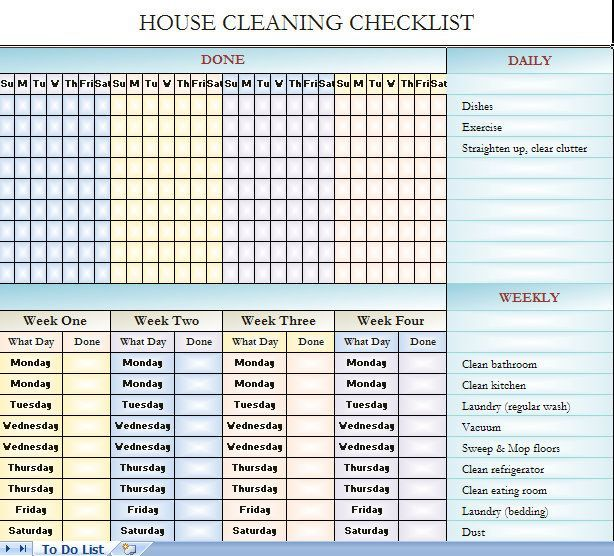 House cleaning checklist - it's in Excel so you can change it to fit your house cleaning needs