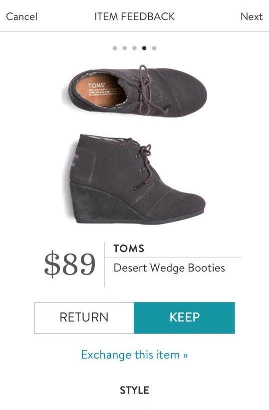 TOMS Desert Wedge Booties from Stitch Fix.   https://www.stitchfix.com/referral/4292370