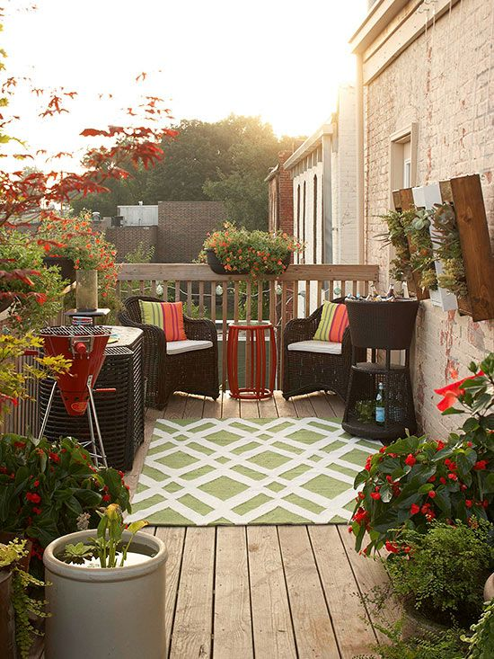 On a deck where space is limited, accessories like chairs that tuck beneath a table, a right-size grill, plus railing and vertical planters need to do more with a small footprint: http://www.bhg.com/home-improvement/deck/ideas/small-deck-decorating/?socsrc=bhgpin040314petitepowerhouse&page=1