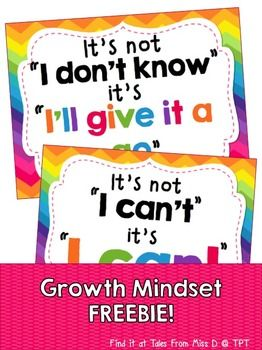 Growth Mindset Posters - Encourage a Growth Mindset in your classroom with these bright and colourful posters. Various Growth Mindset Posters & Resources available in my TPT Store. © Tales From Miss D
