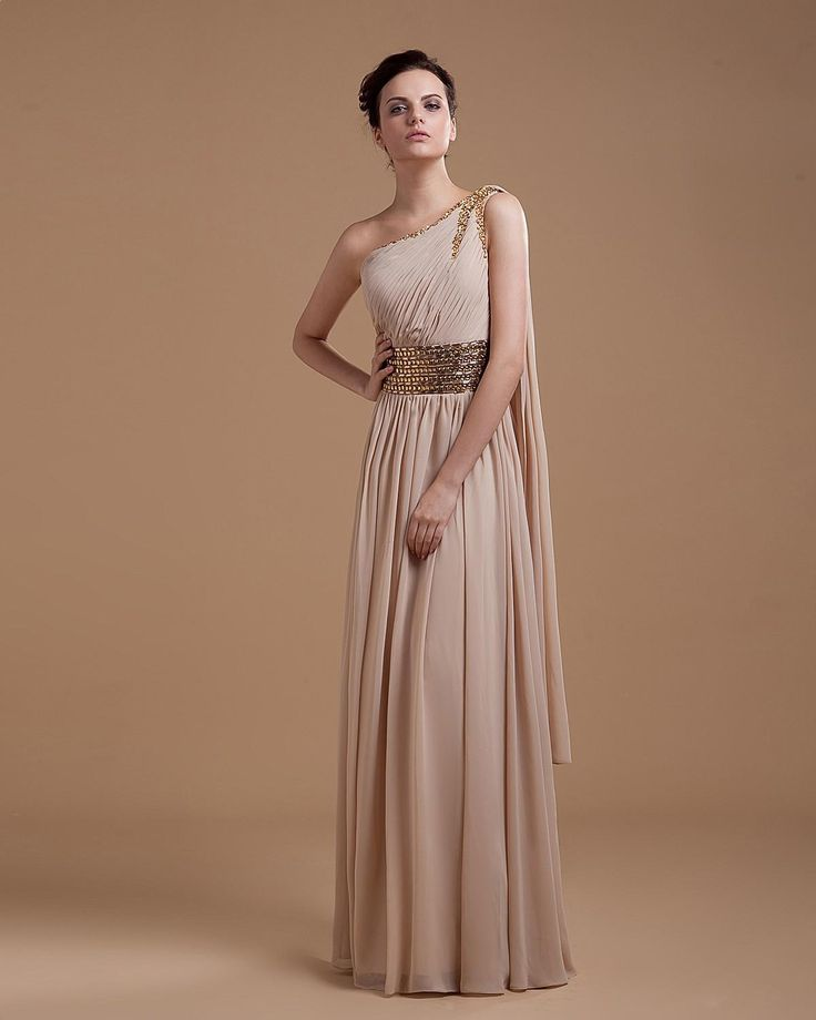 One shoulder Floor Length Chiffon Prom Dress with long ribbon and beaded waistline