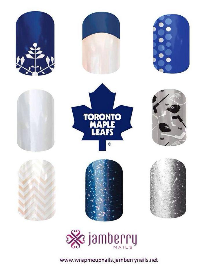 Toronto Maple Leafs nails Nail art - Jamberry - manicure - nail design www.heybecca.jamberrynails.net www.facebook.com/groups/HeyBecca #JamberryNails #TorontoMapleLeafs #TorontoNails