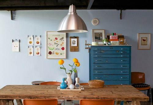Dining Room, Blue Wall, Colors, Kitchens Tables, Wood Tables, House Doctors, Dining Spaces, Wooden Tables, Chest Of Drawers