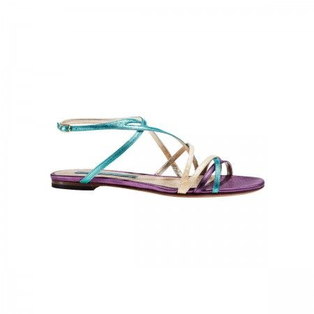 Amelie Metallic leather and snake flat sandal