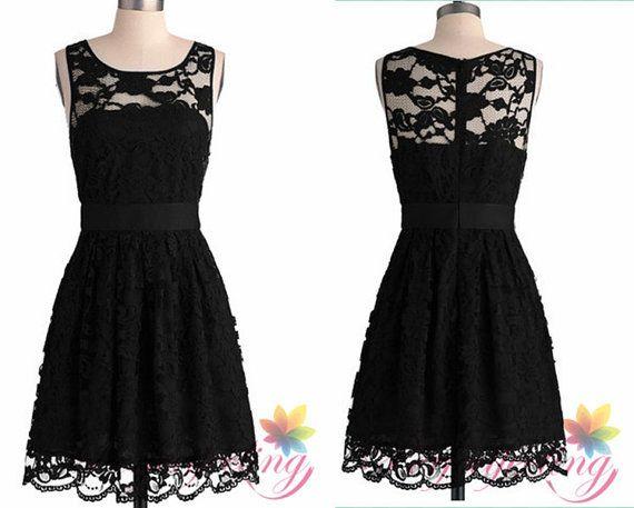 Black prom dresses black cap shoulder lace dress by PerfectFeeling, $199.00