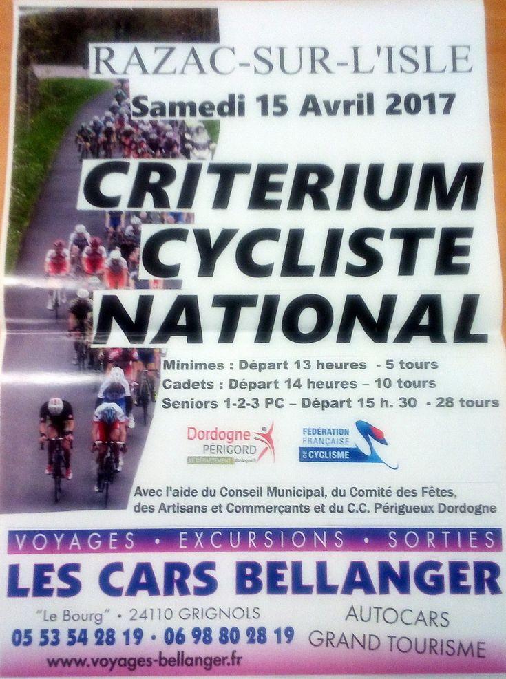 Samedi 15 Avril 2017 : critérium national de Razac/l'Isle (24) - Tags : CC Périgueux Dordogne., razac sur l'Isle., critérium national Samedi 15 Avril 2017 : 1er critérium national de Razac sur l'Isle (24) Organisation : Cyclo Club Périgueux Dordogne Speaker : Pierre Lajarthe  - Dossards salle polyvalente – Minimes 28 km pour 7 tours , départ à 13 heure – Cadets 56 km pour 14 tours , départ à 14 heure – 1,2,3 et juniors 100 km pour 25 tours , départ 15 heure 30′ + Les engagés de Razac sur…
