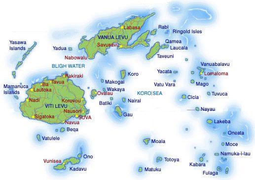 Fiji Islands Map. We stayed on the largest island Viti Levu