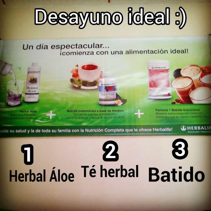 DESAYUNO IDEAL: 1.Herbal Aloe: Bebida concentrada de Sabila, refrescante y Deliciosa, salud digestiva para tu cuerpo.  2. Té Herbal: Gimnasio interno, cada porción que consumes, son 45 min de ejercicio metabólico. Quema tu grasa localizada y tu grasa arterial, Oxigenación limpia y natural de tu organismo.  3. Delicioso Batido Nutricional que aporta 114 nutrimentos a tu cuerpo, aporta 9 gramos de proteína de Soya y tan sólo 90 calorías. Lo encuentras en 8 sabores: Cookies and Cream…
