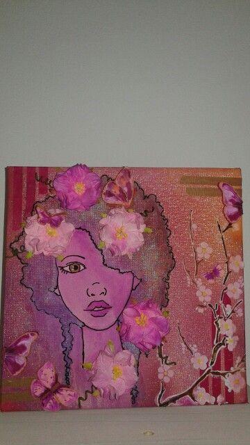 Canvas 'looking pink' by Gerda Frankes.