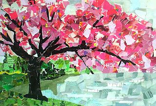 Collage from torn paper - so awesome. Should be the DC Cherry Blossom race poster...