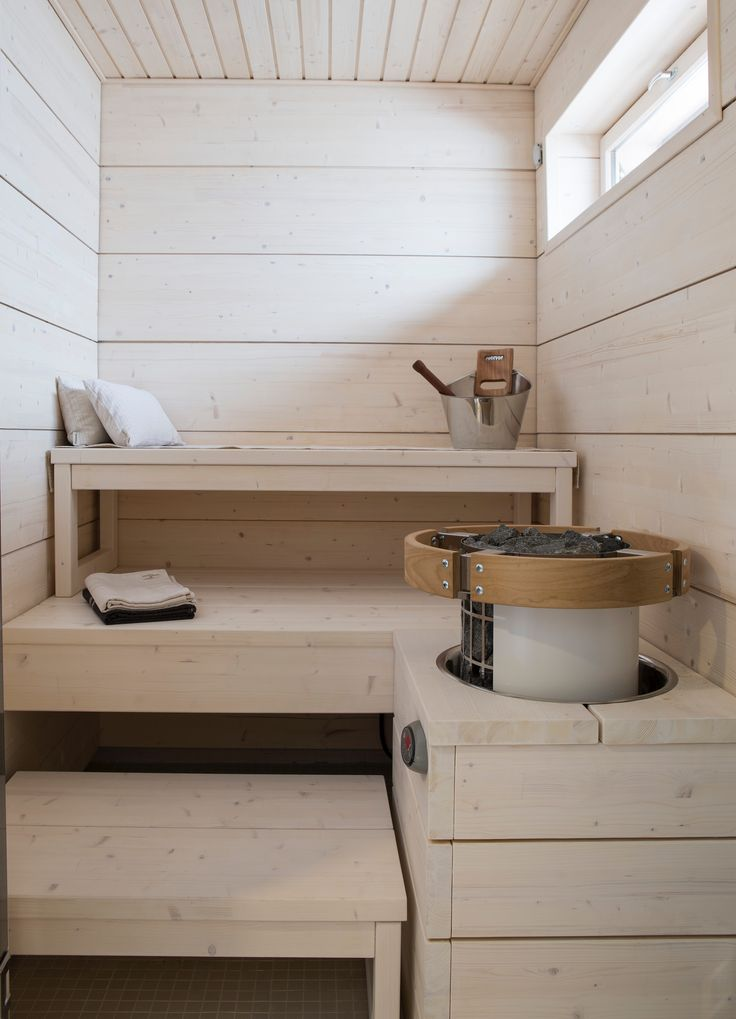 The very small sauna.