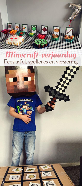 Minecraft-verjaardag: ideeën voor een feesttafel, versieringen en spelletjes. van: www.mizflurry.nl