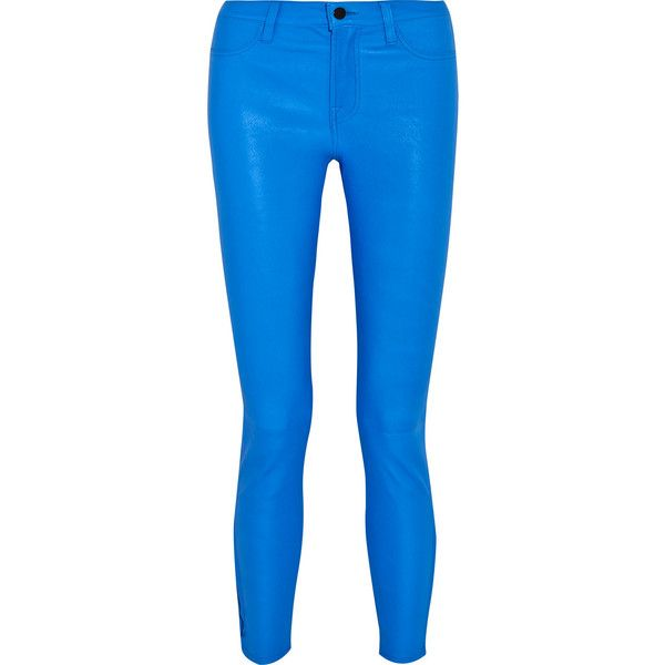 J Brand Neon leather skinny pants ($555) ❤ liked on Polyvore featuring pants, bright blue, blue skinny pants, skinny pants, j brand, genuine leather pants and skinny trousers