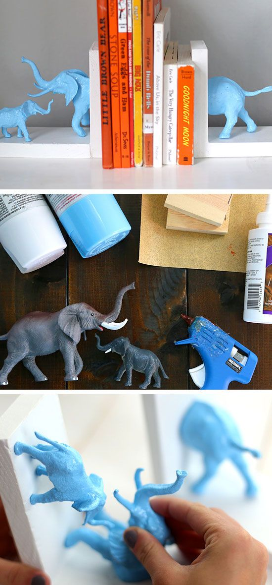 Animal Bookends | Click for 25 DIY Nursery Decor Ideas | DIY Decorating Ideas for Toddlers Boys Room