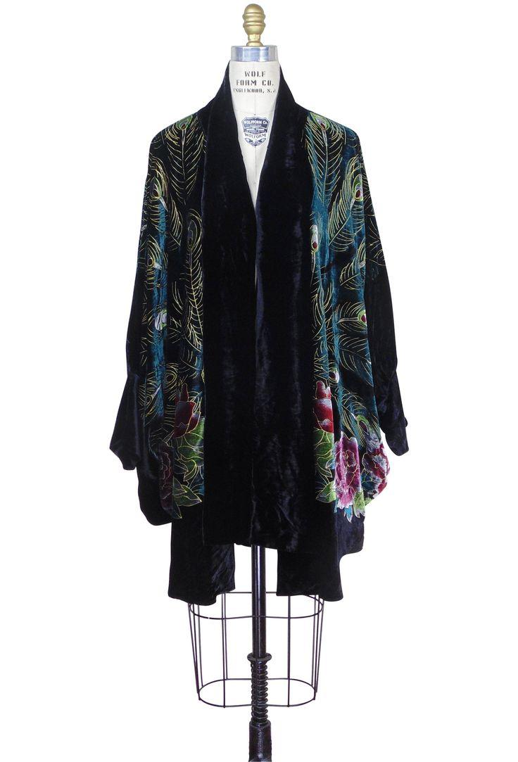 Victorian Peacock Silk Velvet Batwing Cocoon Opera Coat - Black