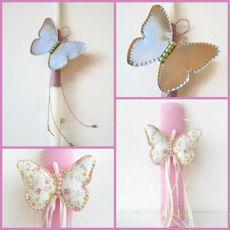 Greek Easter candles (lambades) decorated with handmade butterflies.