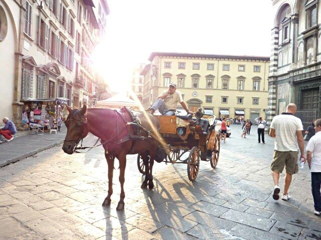 Horse carriage ride around this beautiful architectural buildings (florence, italy)